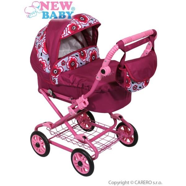 Dětský kočárek pro panenky New Baby fuchsiový