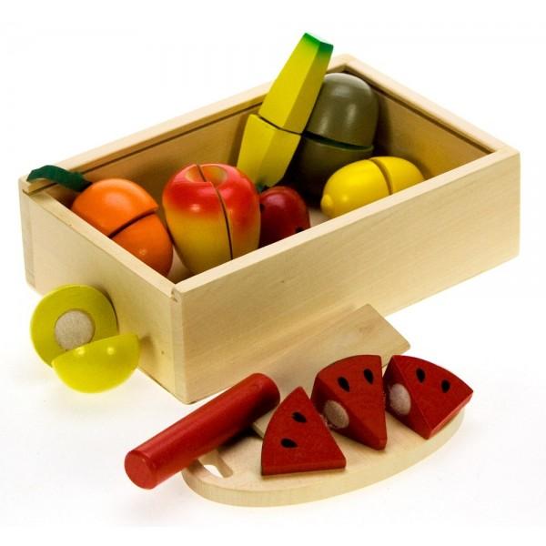 Bigjigs dřevěné potraviny - Krájení ovoce v krabičce