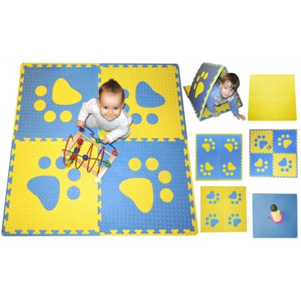Pěnový BABY koberec s okraji - modrá/žlutá 123 x 123 cm