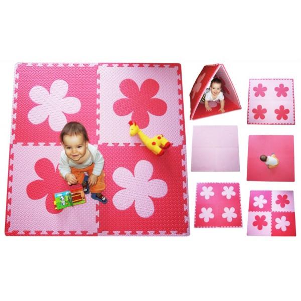 Pěnový BABY koberec s okraji - růžová/červená 123cmx123cm