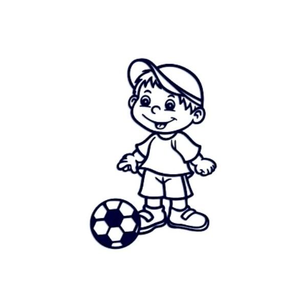 Samolepka na auto se jménem dítěte- kluk fotbalista