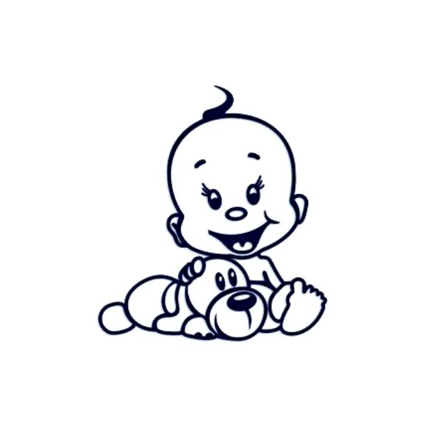 Samolepka na auto se jménem dítěte- mimi s pejskem