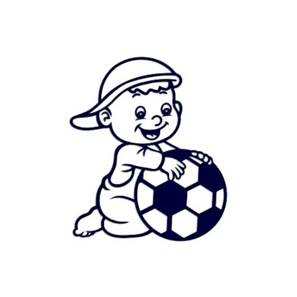 Samolepka na auto se jménem dítěte- kluk s míčem