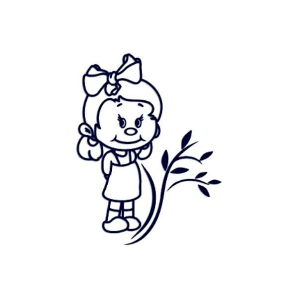Samolepka na auto se jménem dítěte- holka s kytičkou