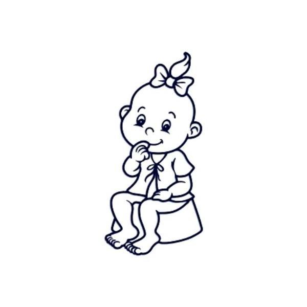 Samolepka na auto se jménem dítěte- holka na nočníku