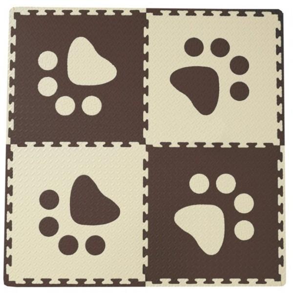 Pěnový BABY koberec s okraji - hnědá/béžová 123cmx123cm