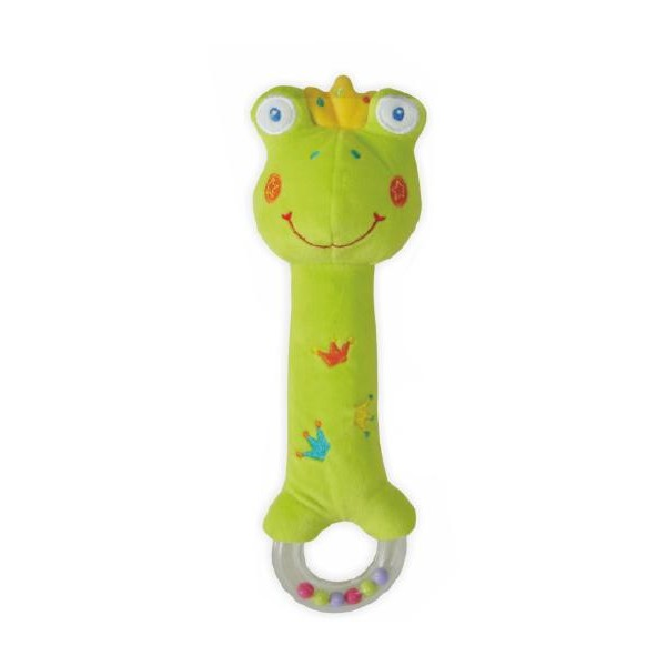 Plyšová pískací hračka s chrastítkem Baby Mix žába- BABY MIX