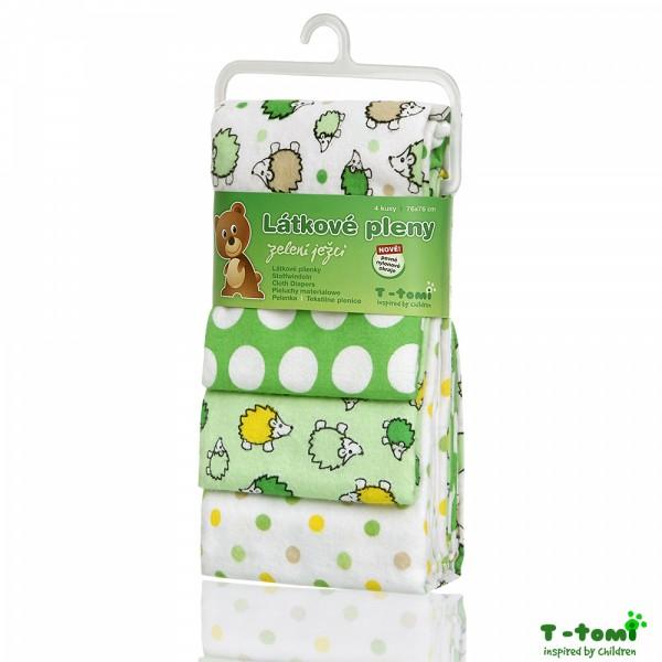 Látkové pleny 4ks, zelení ježci- T-tomi