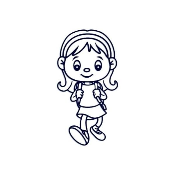 Samolepka na auto se jménem dítěte - holka školačka