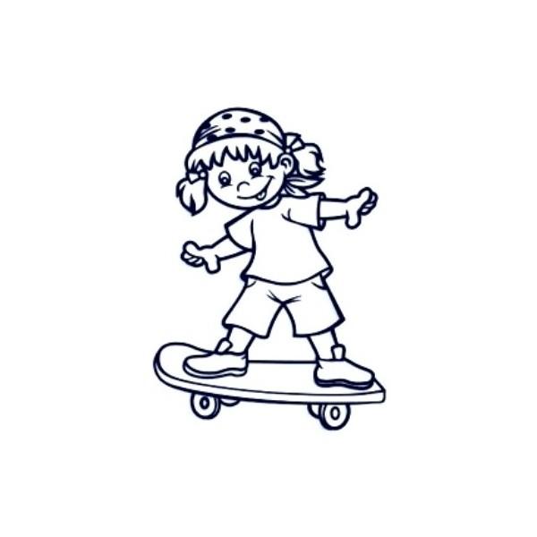 Samolepka na auto se jménem dítěte - holka na skateboardu