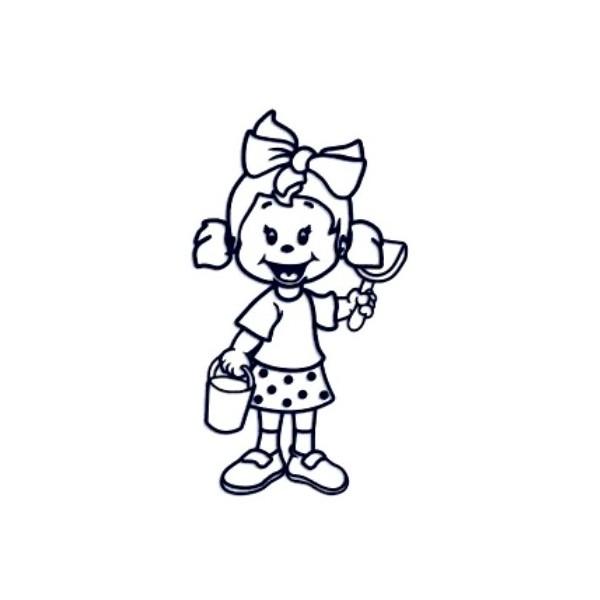 Samolepka na auto se jménem dítěte - holka na pískovišti