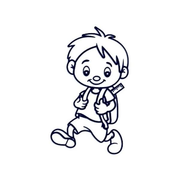 Samolepka na auto se jménem dítěte - kluk školák