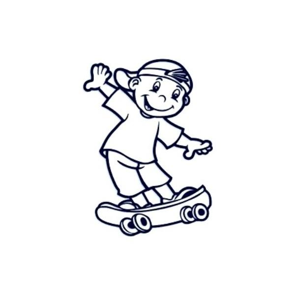 Samolepka na auto se jménem dítěte - kluk na skateboardu