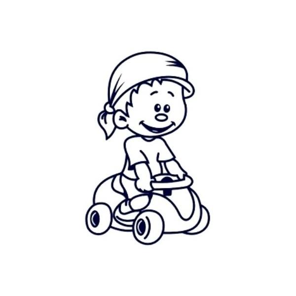Samolepka na auto se jménem dítěte - kluk řidič