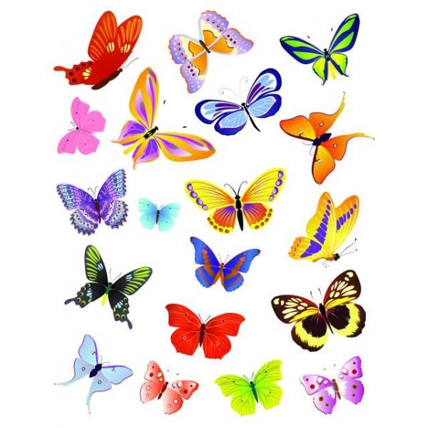 Samolepky do dětského pokoje- motýli- mix barev