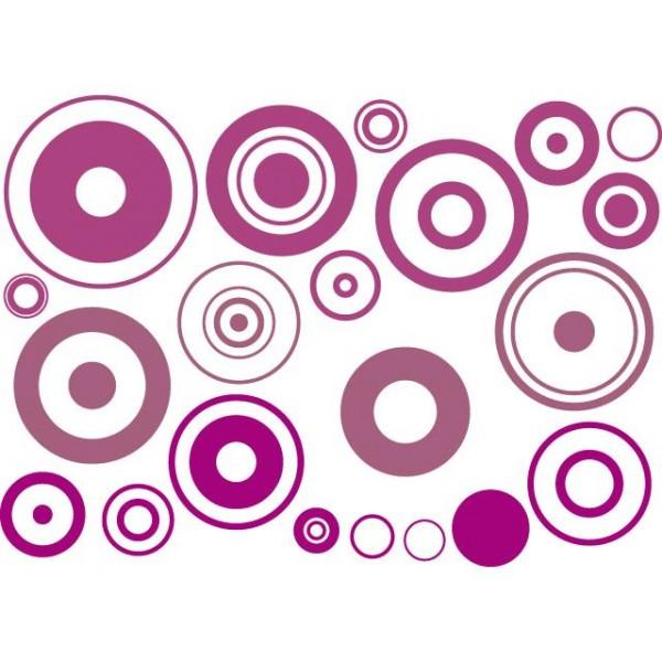 Samolepky na zeď- Fialovo-růžové bubliny