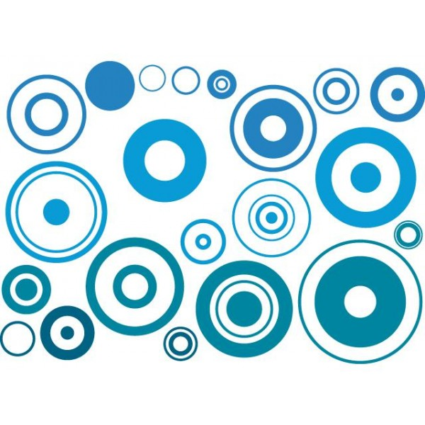 Samolepky na zeď dětského pokoje- Modré bubliny