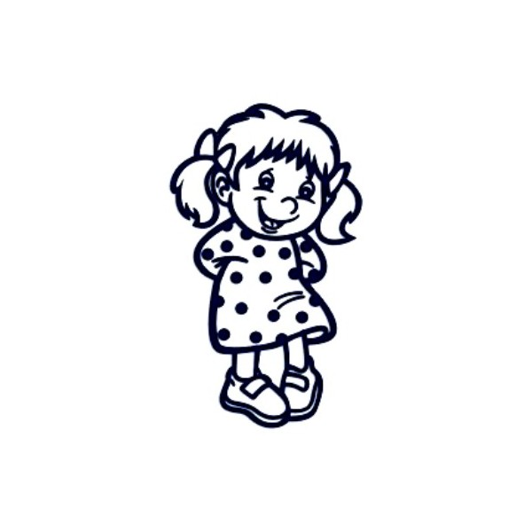 Samolepka na auto se jménem dítěte- holka v šatičkách